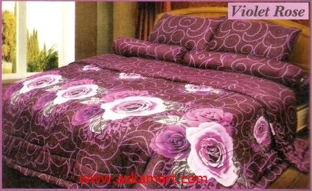 sprei full katun jepang murah Sprei Impression Violet Rose