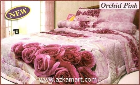 sprei full katun jepang murah Sprei Impression Orchid Pink