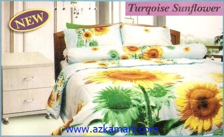 sprei full katun jepang murah Sprei Impression Turqoise Sunflower