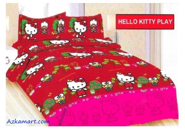 jual sprei bonita motif karakter anak hello kitty play