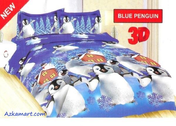sprei bonita dan bedcover terbaru motif penguin biru