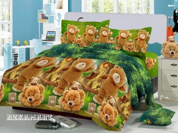 sprei kintakun deluxe motif karakter kartun anak woll bear