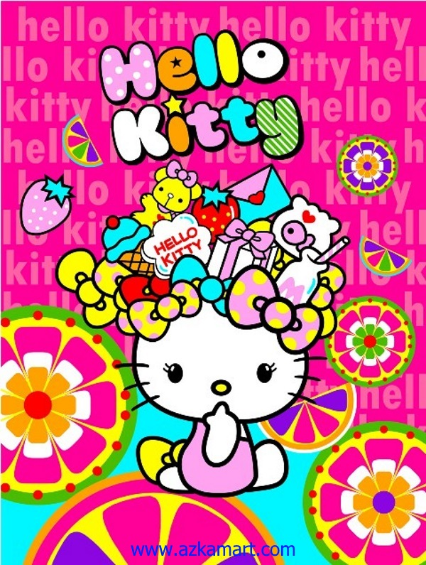jual beli selimut bulu halus lembut rosanna gambar hello kitty