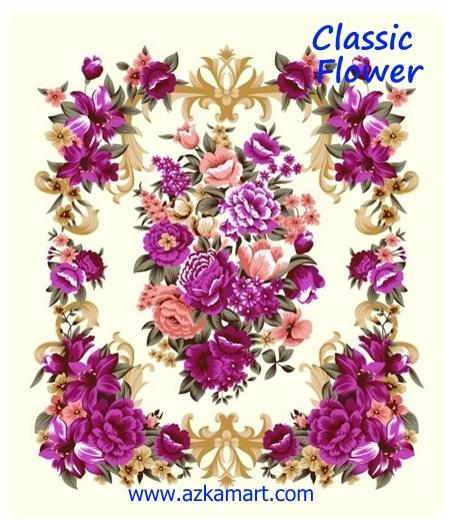 jual beli selimut rosanna king sutra panel gambar bunga klasik